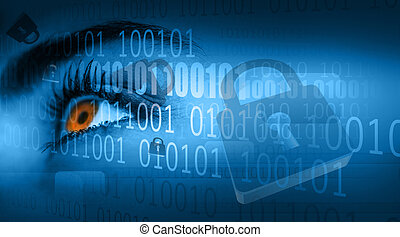 Close up of woman brown eye with digital padlock and binary...