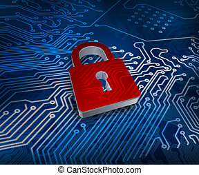 Red digital padlock over futuristic ground showing circuit...
