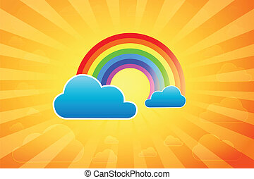 Summer Rainbow - Illustration Of Rainbow Surrounded By...