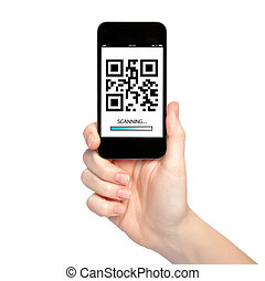 woman hand holding a phone with qr code on the screen