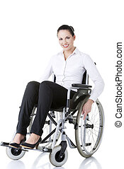 Attractive smiling disabled businesswoman sitting in a wheel...