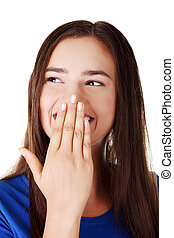 Oops - Woman covering mouth with hand,