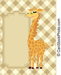 Greeting Card - Funny vector greeting card with a giraffe
