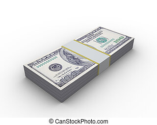 10000 dollars - 3d illustration of 10000 dollars stack, over...