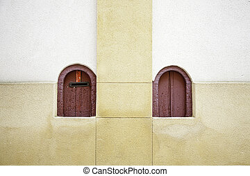 Lockers entries in a bullring, detail of windows in a...