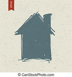 House sign on paper texture. Vector, EPS10