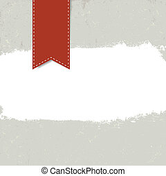 White grunge label on textured background with red tag....