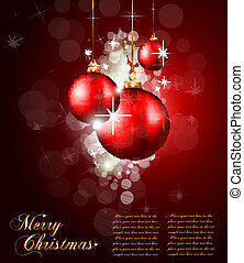 Christmas Baubles Background for Elegant Invitation Flyer -...