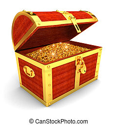 Wooden chest with gold coins