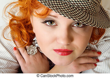 young woman with red hairs in fedora hat - beautiful young...