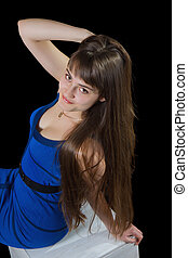 Woman with beautiful long brown hairs