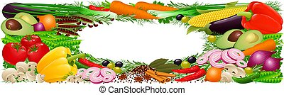 Vegetables, herbs and spices - highly detailed illustration...