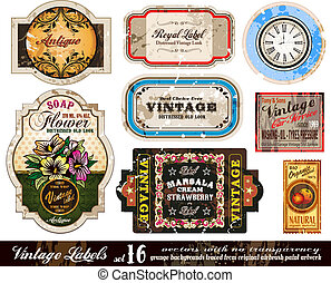 Vintage Labels Collection - Set 16 - Vintage Labels...