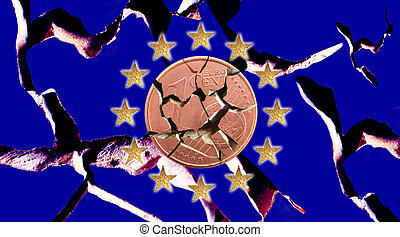 euro crisis - European flags with 12 stars and a Euro coin