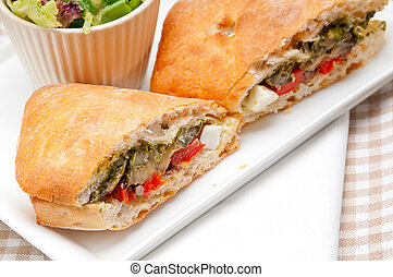 ciabatta panini sandwichwith vegetable and feta - Italian...