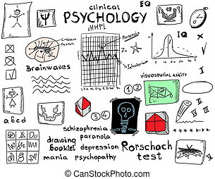 concept clinical psychology, color doodle icons and symbols