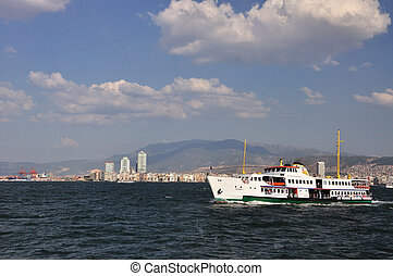 General view on Izmir from sea, Turkey sunny day