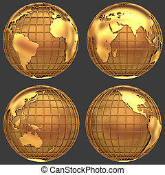 Stylized golden globe of the Earth with a grid of meridians...