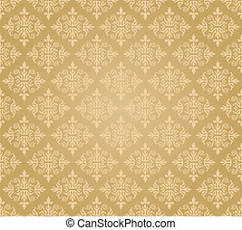 Seamless golden floral wallpaper diamond pattern. This image...