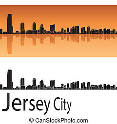 Jersey City skyline in orange background in editable vector...