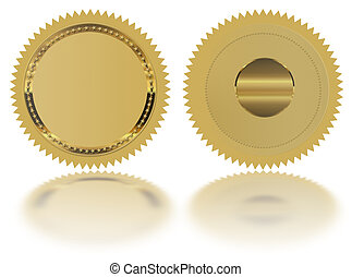 Gold seal - Stamp - Medal blank, with reflection