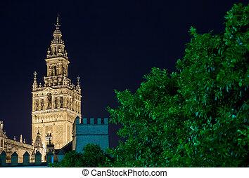 Giralda of Seville - The Giralda of Seville at night,...