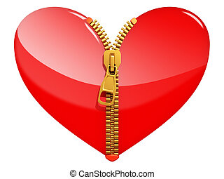 Glossy heart with zipper - isolated on white background