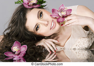 Beauty Girl With Flowers.Beautiful Model Woman Face. Perfect...