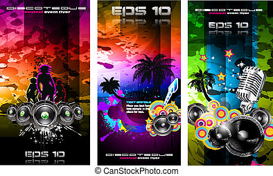 Music Party Disco Flyer Set - Set of 3 Music Party Disco...