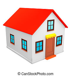 3D render of little house - isolated on white background