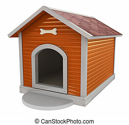 3d Dogs kennel - isolated on white background
