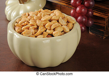 Bowl of dry roasted peanuts