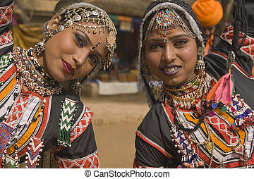 Rajasthani Tribal Dancers - Kalbelia dancers in ornate black...