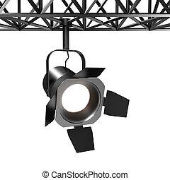 Spotlight, 3d render of industrial spot light on white