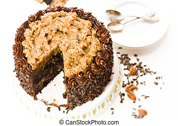 German chocolate cake with two layers of chocolate cake...