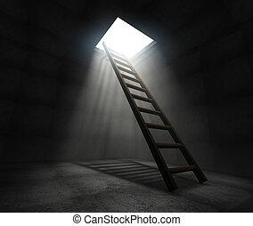 Ladder to freedom - 3d render concept illustration