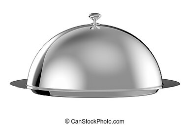Restaurant cloche with lid - clipping path included