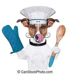 dog cook chef - a cook dog holding an cooking spoon and...