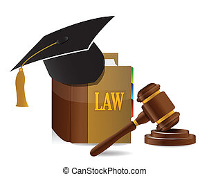 education Judge lawsuit hammer on law book illustration...