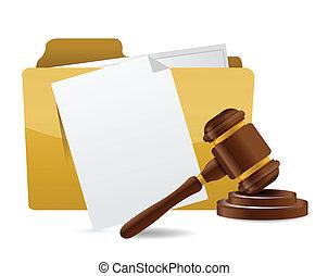 Carpeta, documento, papeles, martillo