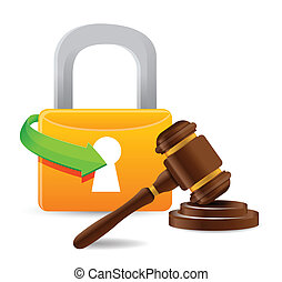 lock and gavel illustration design over a white background