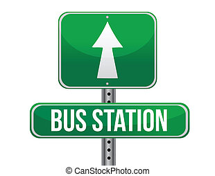 bus station road sign illustration design over a white...