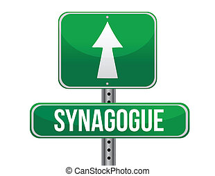 synagogue road sign illustration design over a white...