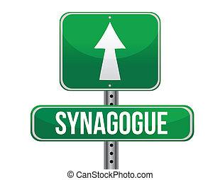 synagogue road sign illustration design over a white...