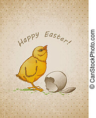 Easter background with chicken - Vector hand drawn vintage...