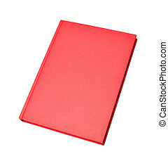 Blank red hardcover book isolated on white background
