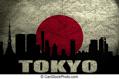 View of Tokyo on the Grunge Japanese Flag