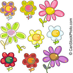 set of cartoon flowers