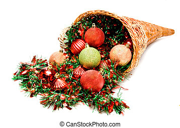 Cornucopia - A cornucopia filled with holiday Christmas...