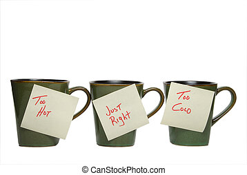 Goldilock\\\'s Cup - Three cups with notes: too hot, just...